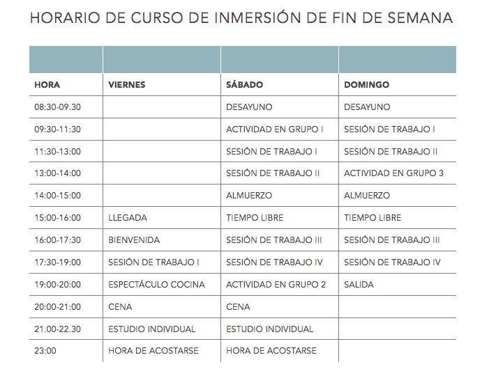 Language Programmes timetable 2