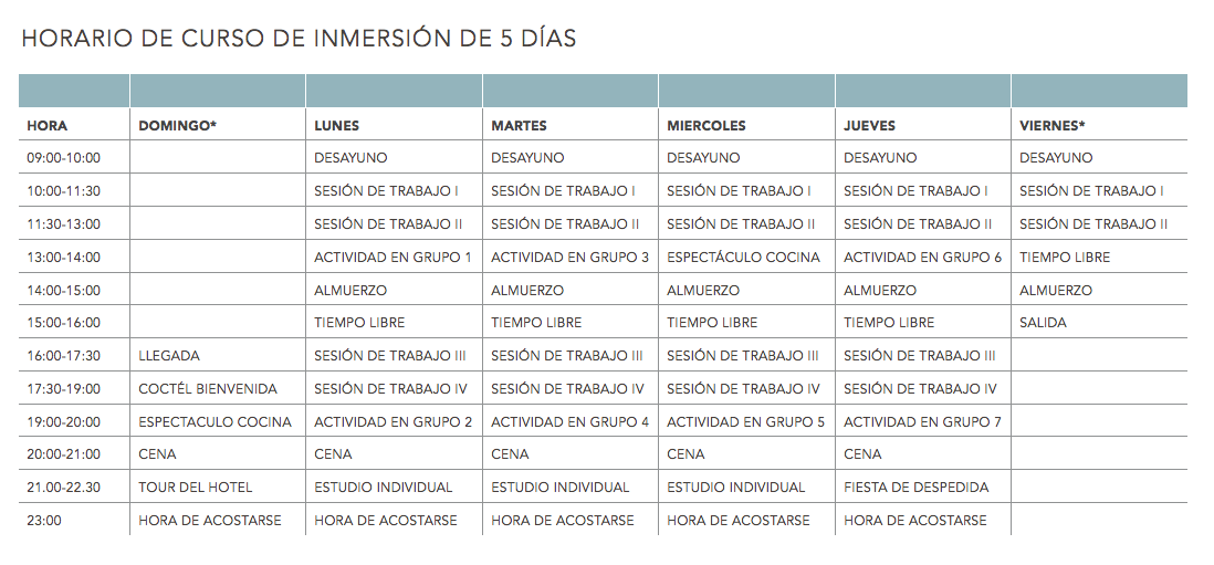 Language Programmes timetable 1